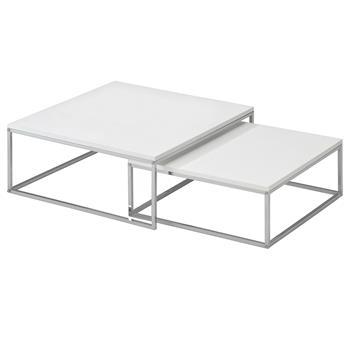 Lot de 2 tables basses gigognes IZMIR, en métal chromé et décor blanc mat
