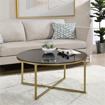 Table basse ronde NOELIA, en métal doré et plateau en verre noir