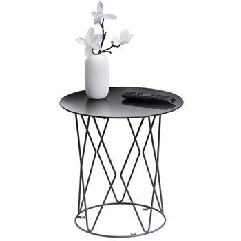 Table d'appoint MADESIS, plateau rond en verre trempé et piètement croisé en métal noir