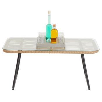 Table basse d'extérieur BOREAL en verre et imitation rotin