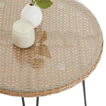 Table d'appoint de jardin PARAMO, plateau en verre et imitation rotin
