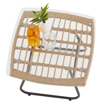 Table d'appoint de jardin COSTA, plateau en verre et imitation rotin