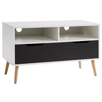 Meuble TV GENOVA, décor blanc mat et gris anthracite