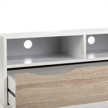Meuble TV GENOVA, décor blanc et chêne sonoma