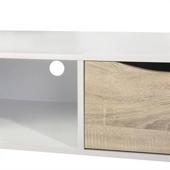 Meuble TV IMPERIA, décor blanc mat et chêne sonoma