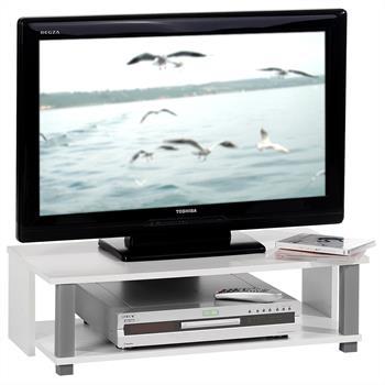 Meuble banc TV KENO, blanc et gris