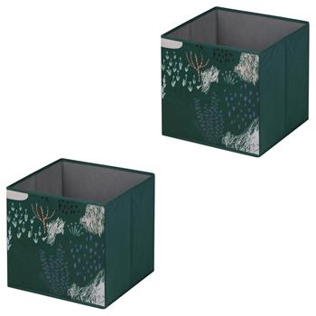 Lot de 2 boîtes de rangement FOREST, en tissu vert foncé