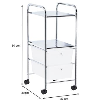 Caisson sur roulettes GINA, 2 tiroirs et 2 étagères, en plastique blanc et métal