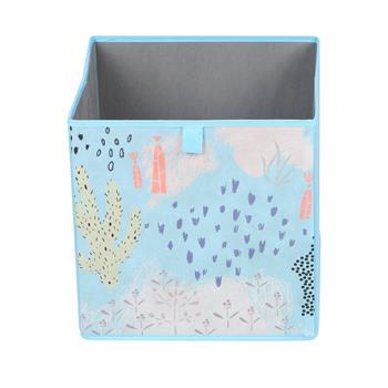Lot de 2 boîtes de rangement FLOWER MORNING, en tissu bleu clair