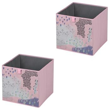Lot de 2 boîtes de rangement FLOWER PINK, en tissu rose