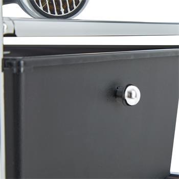 Caisson sur roulettes GINA, 3 tiroirs et 2 étagères, en plastique noir et métal