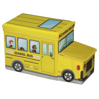 Tabouret enfant avec rangement BUS jaune