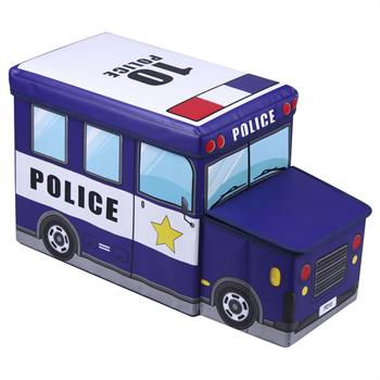 Tabouret enfant avec rangement POLICE bleu