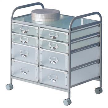 Caisson sur roulettes ROLI-2, 8 tiroirs, aluminium