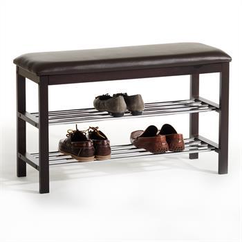 Banc avec étagères à chaussures SANA, 2 tablettes, laqué brun