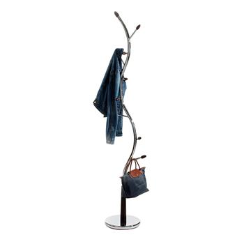 Porte-manteaux ASTRID, en métal chromé et bois teinté wengé