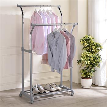 Portant à vêtements MERIDA, en métal chromé et gris