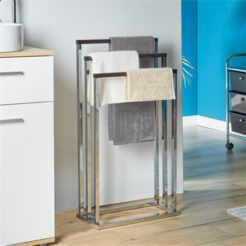 Porte-serviettes EDOARDO, en métal chromé et bois finition noyer