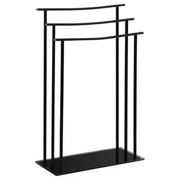 Porte serviettes ARNAU, 3 portants métal et verre trempé noirs