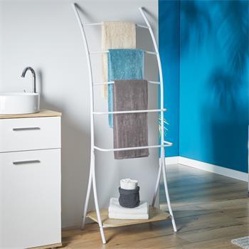 Porte-serviettes EDY, décor chêne sonoma et métal laqué blanc