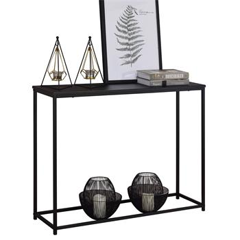 Table console JAVIER, cadre en métal laqué noir et plateau en MDF décor noir mat