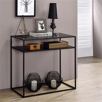 Table console GONZALO 2 tablettes, cadre en métal laqué noir et plateau en MDF décor noir mat