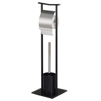 Porte papier toilette ONA avec brosse, métal et verre trempé noirs