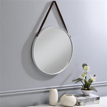 Miroir rond avec anse MIREIA cadre en métal blanc, 45 cm
