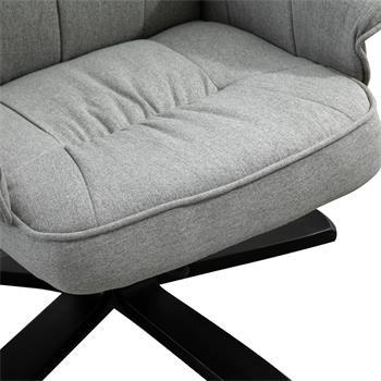 Fauteuil de relaxation avec repose-pieds CHARLY, en tissu gris et pieds noir