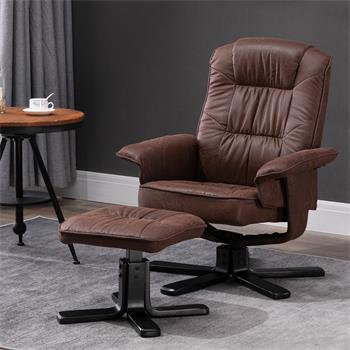 Fauteuil de relaxation avec repose-pieds CHARLY, en tissu brun et pieds noir