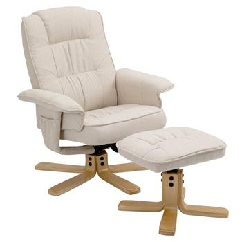 Fauteuil de relaxation avec repose-pieds CHARLY, en tissu beige