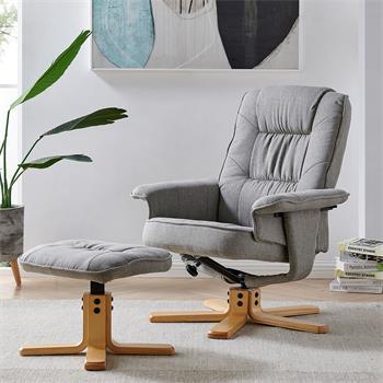 Fauteuil de relaxation avec repose-pieds CHARLY, en tissu gris