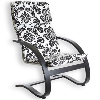 Fauteuil de relaxation ELLA, motifs fleurs, laqué noir