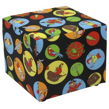 Pouf cubique, motif pirate