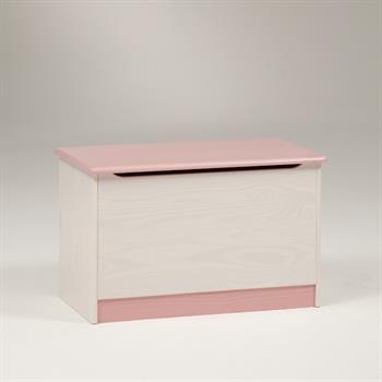 Coffre à jouets en pin HANNAH, lasuré blanc rose