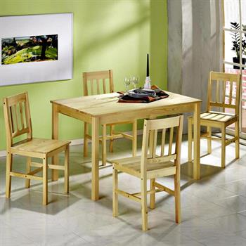 Ensemble en pin massif table + 4 chaises OSLO, vernis naturel