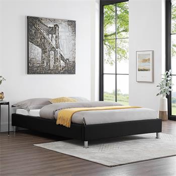 Lit futon double NIZZA, 140 x 190 cm, avec sommier, revêtement en tissu noir