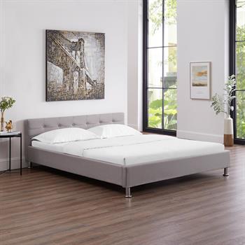 Lit double NIZZA, 160 x 200 cm, capitonné avec sommier, revêtement en tissu gris