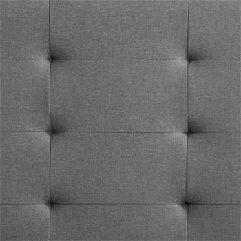 Lit simple MARLON, 120 x 190 cm, capitonné avec sommier, revêtement en tissu gris