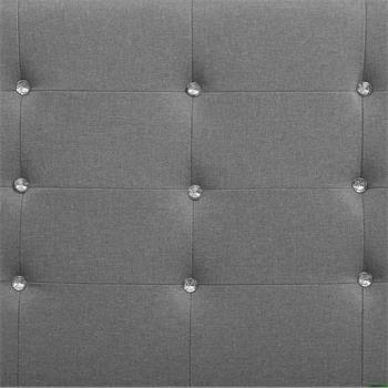 Lit simple TICO, 90 x 190 cm, capitonné avec sommier, revêtement en tissu gris