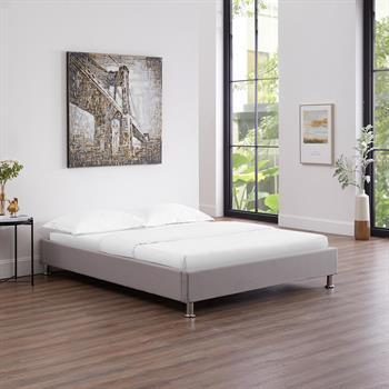 Lit futon double NIZZA, 140 x 190 cm, avec sommier, revêtement en tissu gris