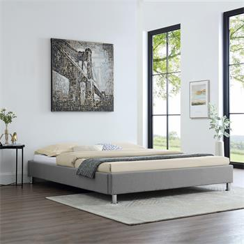 Lit futon double NIZZA, 160 x 200 cm, avec sommier, revêtement en tissu gris