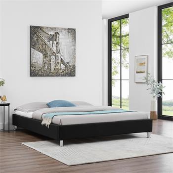 Lit futon double NIZZA, 160 x 200 cm, avec sommier, revêtement en tissu noir