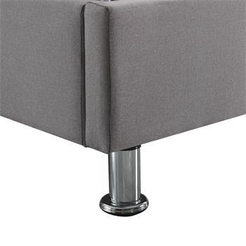 Lit futon double NIZZA, 180 x 200 cm, avec sommier, revêtement en tissu gris
