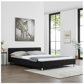 Lit double NIZZA, 160 x 200 cm, capitonné avec sommier, revêtement en tissu noir