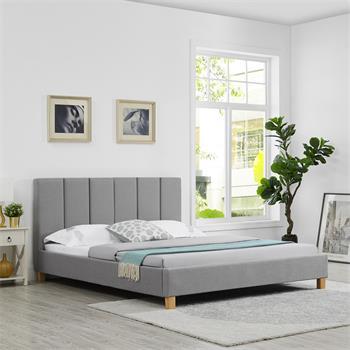 Lit double JASON, 160 x 200 cm, avec sommier, revêtement en tissu gris