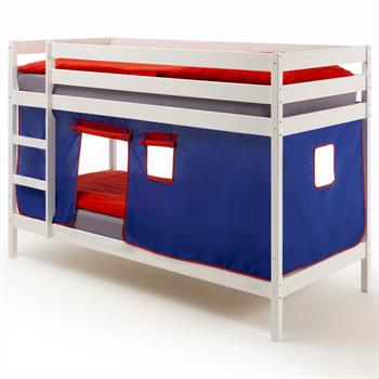 Lits superposés en pin lasuré blanc FELIX avec rideaux, bleu/rouge