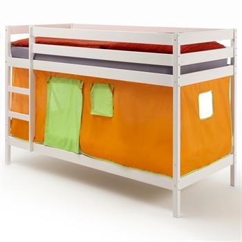 Lits superposés en pin lasuré blanc FELIX avec rideaux, orange/vert