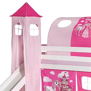 Donjon pour lit surélevé avec toboggan, motif Princesse