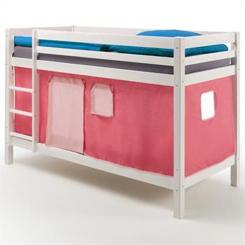 Lits superposés en pin lasuré blanc MAX avec rideaux, rose